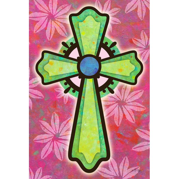 Pink and Green Cross 2-Sided Garden flag by Toland Home Garden