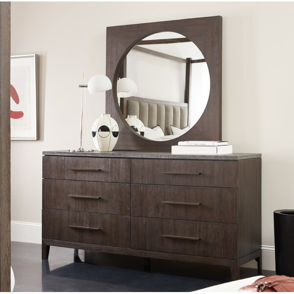 Miramar 6 Drawer Double Dresser with Mirror by Hooker Furniture