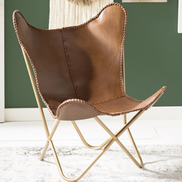 Justa Leather Butterfly Chair by Mistana