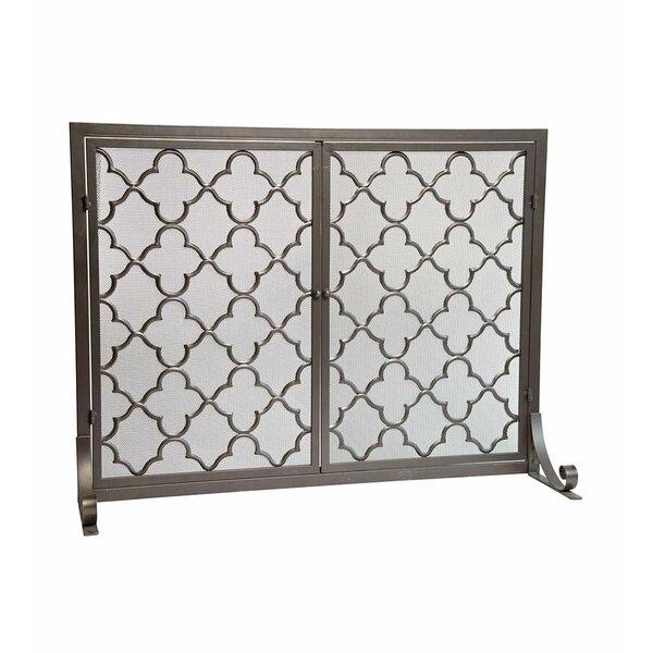 Geometric Single Panel Steel Fireplace Screen by Plow & Hearth