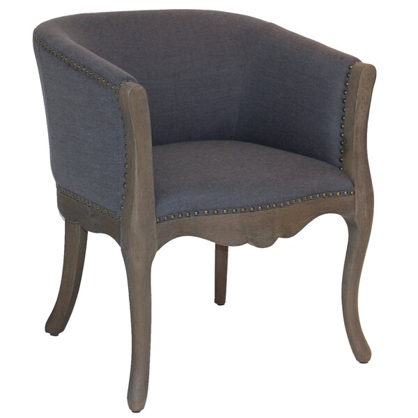 Bjorn Wood and Linen Upholstered Barrel Chair by Ophelia & Co. Ophelia & Co.