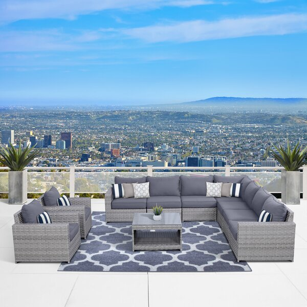 Kordell 10 Piece Sectional Seating Group with Cushions by Sol 72 Outdoor Sol 72 Outdoor