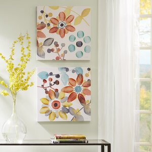 'Sweet Florals' 2 Piece Painting Print Set on Wrapped Canvas by Zipcode Design
