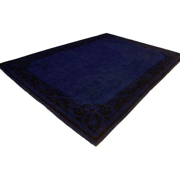 One-of-a-Kind Abbott Over Dyed Hand-Knotted Wool Blue Area Rug by Isabelline