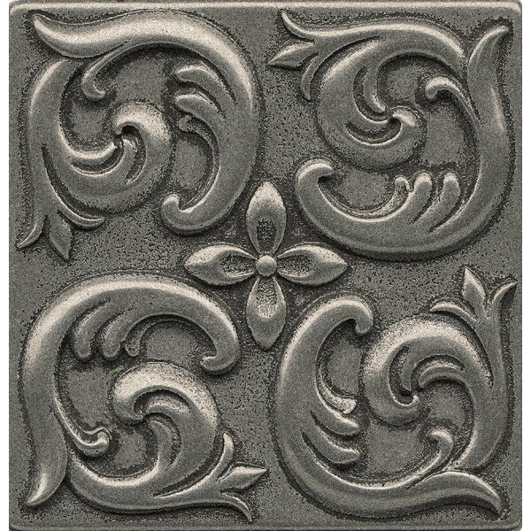 Ambiance Insert Wave 4 x 4 Resin Tile in Pewter by Bedrosians