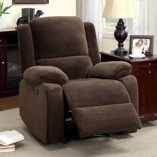 Caughfield Flannelette Plush Cushioned Manual Rocker Recliner [Red Barrel Studio]