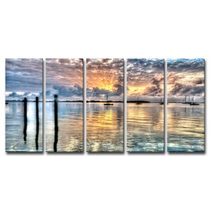 Calm Waters by Bruce Bain 5 Piece Photographic Print on Wrapped Canvas Set by Ready2hangart