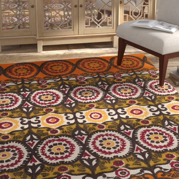 Allison Contemporary Orange/Gray Area Rug by Bungalow Rose