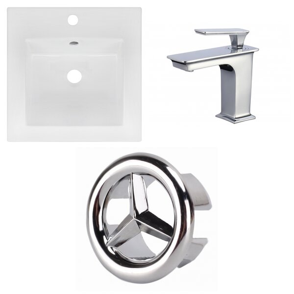 Ceramic Square Drop-In Bathroom Sink with Faucet and Overflow by American Imaginations