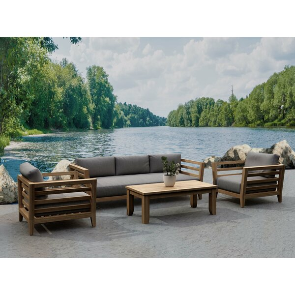 Teo 4 Piece Teak Sofa Seating Group with Sunbrella Cushions by Rosecliff Heights