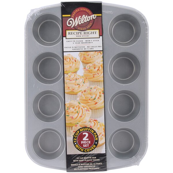 2 Piece Non-Stick 12 Covered Muffin Pan Set by Wilton