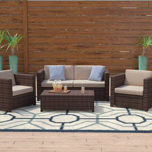 Kappa 4 Piece Rattan Sofa Seating Group With Cushions By Mercury Row