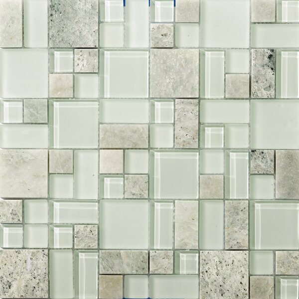 Lucente 13 x 13 Glass Stone Blend Pattern Mosaic Tile in Lazzaro by Emser Tile