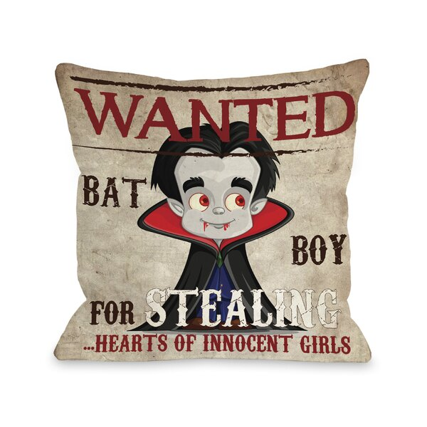 Wanted Bat Throw Pillow by One Bella Casa