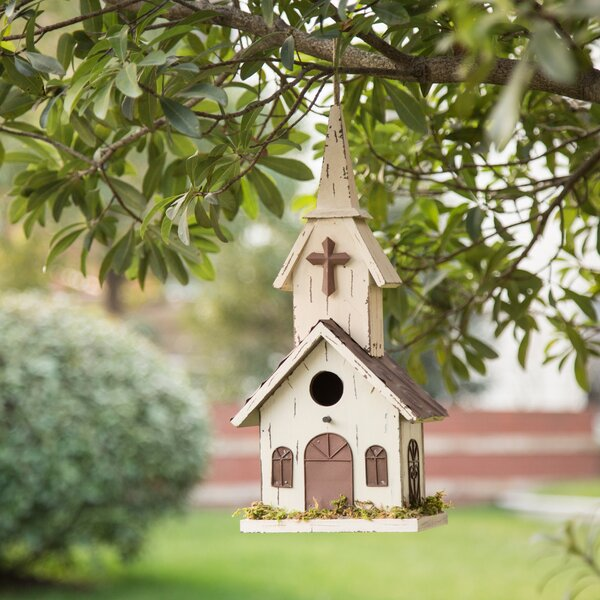 Garden Church 16 in x 7.5 in x 6 in Birdhouse by Glitzhome