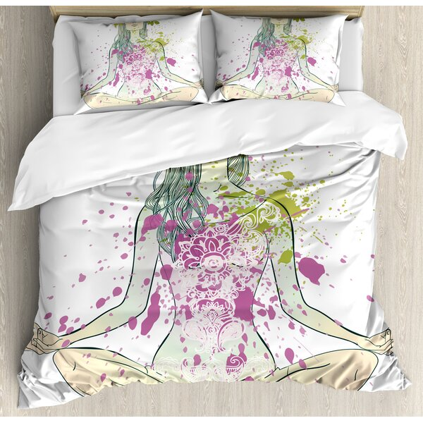 Girl with Floral Wreath Sitting in Lotus Pose Color Splashes Levitation Meditation Duvet Set by East Urban Home