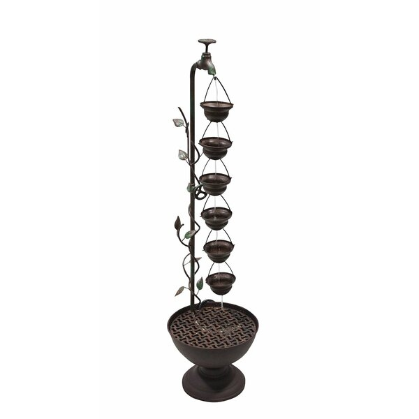 Hanging Cup Iron Floor Fountain by Benzara