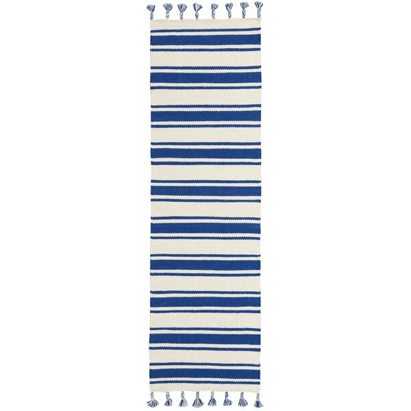 Baird Hand-Woven Ivory/Navy Area Rug by Breakwater Bay