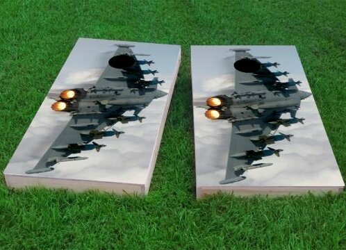 Aircraft in Blue Sky Cornhole Game (Set of 2) by Custom Cornhole Boards
