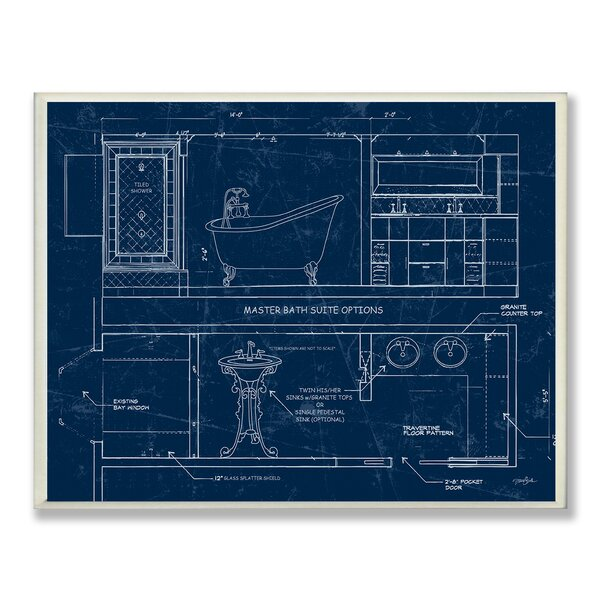 Master Bath Blueprint Wall Plaque by Stupell Industries