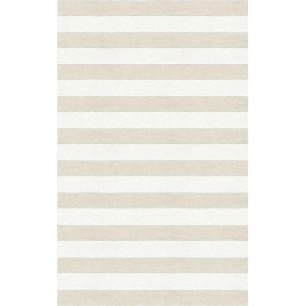 Bathory Stripe Hand-Tufted Wool Beige/White Area Rug by Latitude Run