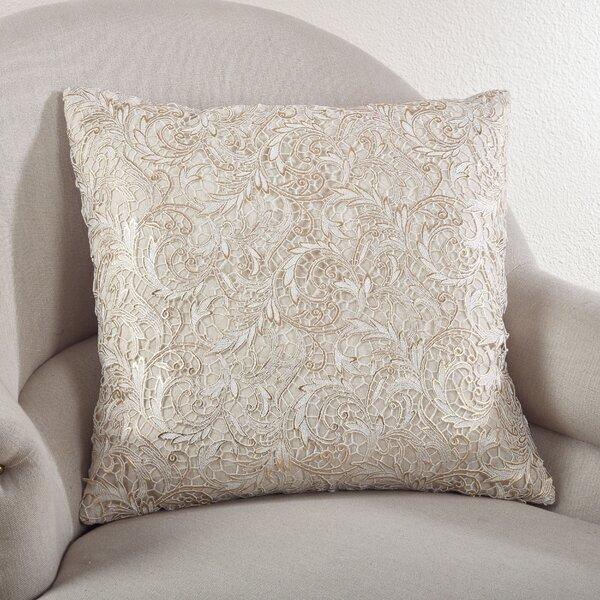 Lace Design Cotton Throw Pillow by Saro