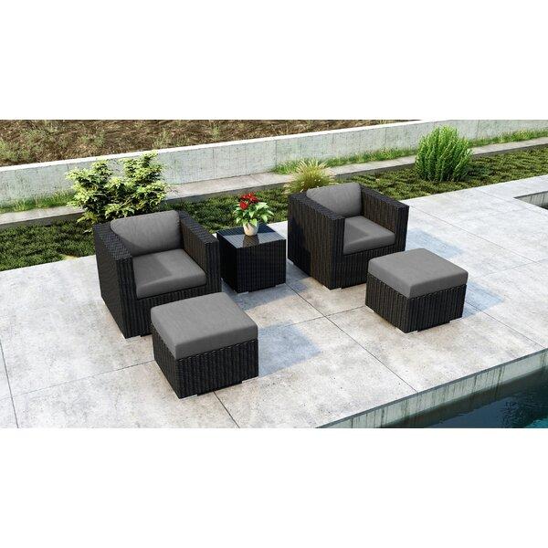 Glendale 5 Piece Conversation Set with Sunbrella Cushion by Everly Quinn