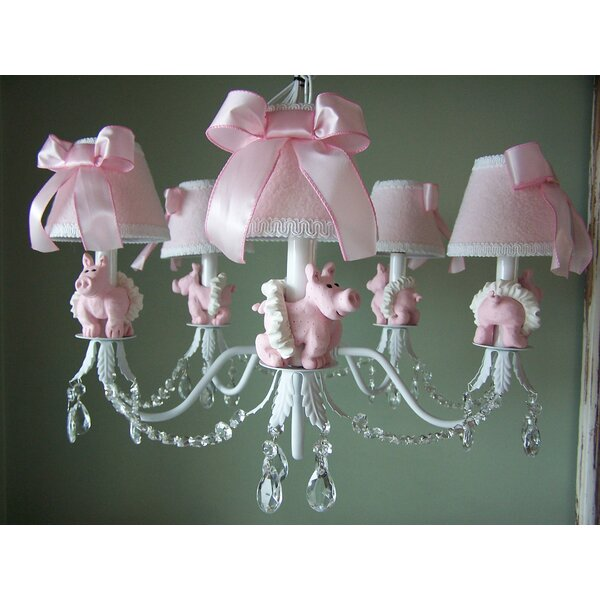 Piggy Princess 5-Light Shaded Chandelier by Silly Bear Lighting