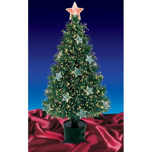 Pre-Lit Fiber Optic Green Artificial Christmas Tree with Stars by The Holiday Aisle
