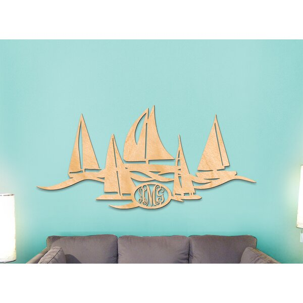 Wayman Sailboat Fleet 3-Letters Wooden Monogram Wall Decor by Breakwater Bay