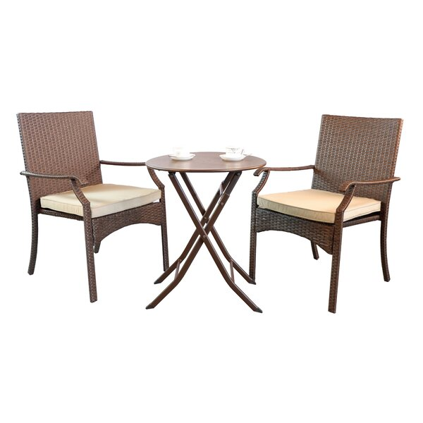 Hawes 3 Piece Bistro Set with Cushions by Bay Isle Home Bay Isle Home