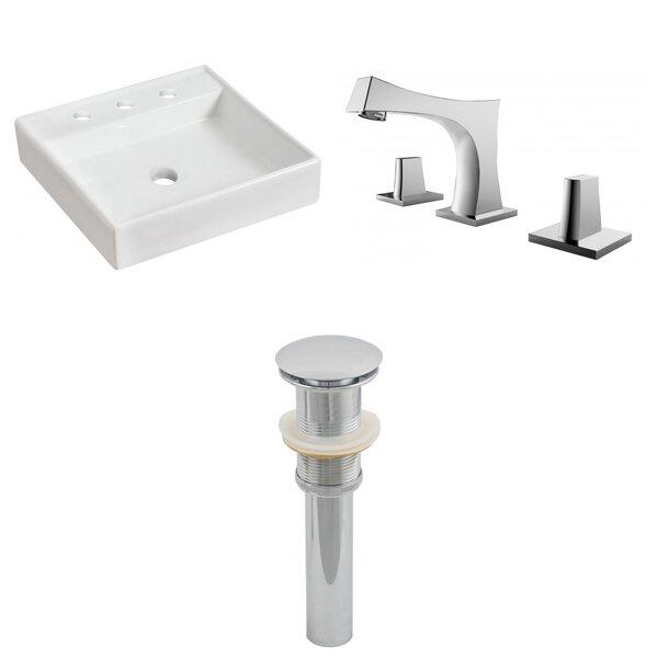 Ceramic Square Vessel Bathroom Sink with Faucet