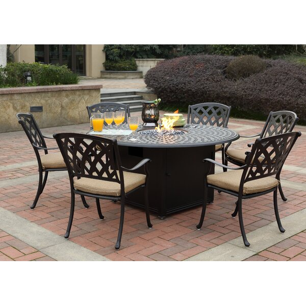 Campton 7 Piece Dining Set with Firepit and Cushion by Fleur De Lis Living