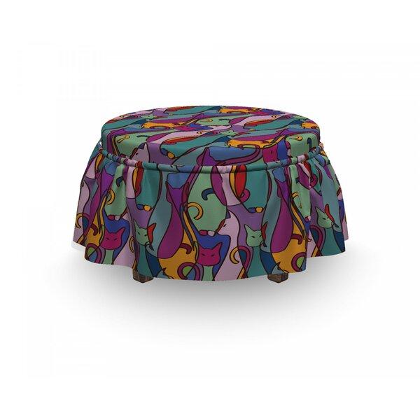 Cat Geometric African 2 Piece Box Cushion Ottoman Slipcover Set By East Urban Home
