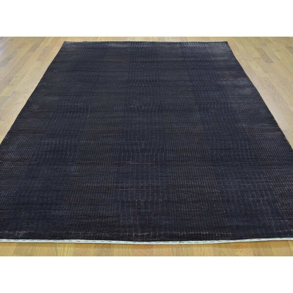 One-of-a-Kind Bean Nepali Hand-Knotted Black Wool/Silk Area Rug by Isabelline