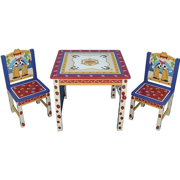 Cowboy Kids 3 Piece Square Table and Chair Set by Mintra