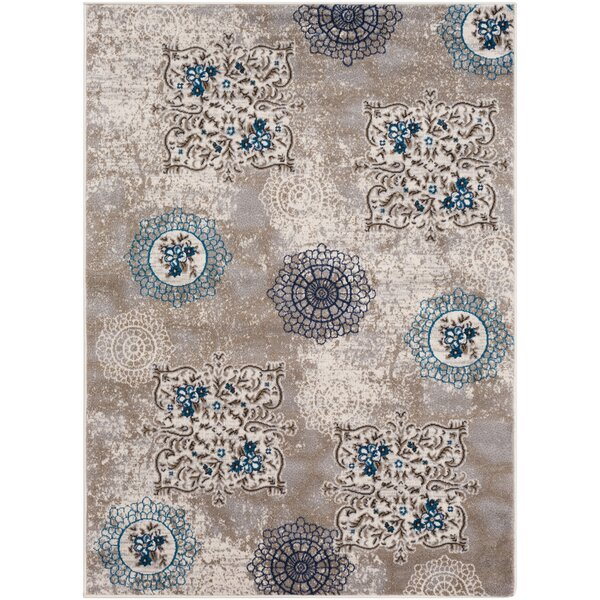 Kent Distressed Contemporary Taupe/Blue Area Rug by Charlton Home