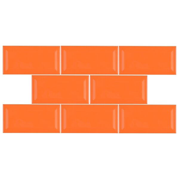 Prospect 3 x 6 Beveled Ceramic Subway Tile in Tangerine Orange by EliteTile