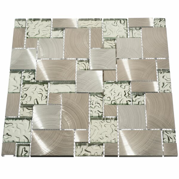 Venetian Random Sized Glass and Metal Mosaic Tile in Silver by Giorbello