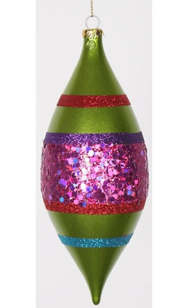 4ct Lime Green and Cerise Pink Shatterproof Christmas Glitter Finial Drop Ornaments 7 by Vickerman