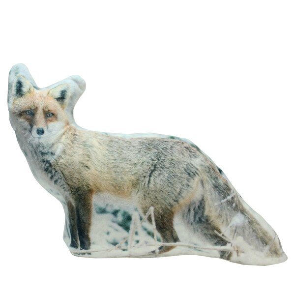 Epinal Inquisitive Fox in Snow Throw Pillow by Loon Peak