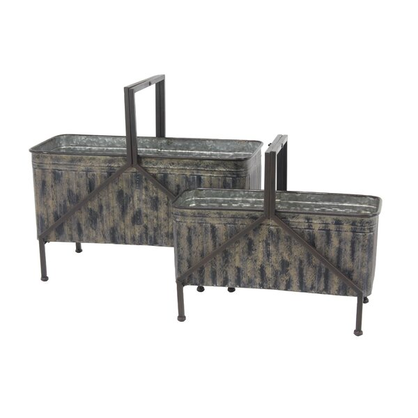 Contemporary Distressed 2-Piece Raised Garden Set by Cole & Grey