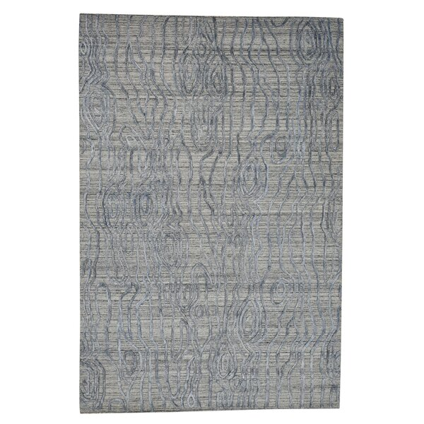One-of-a-Kind Frazer The Tree Bark Oriental Hand-Knotted Silk Blue Area Rug by World Menagerie