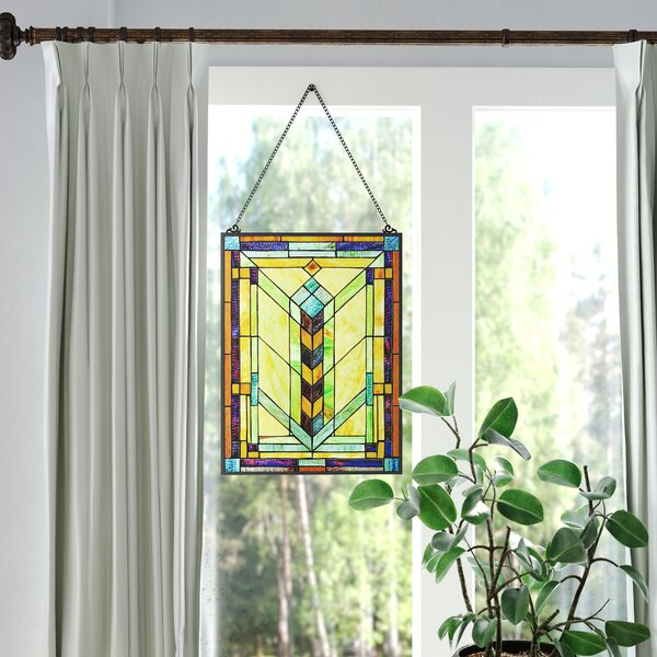 Stained Glass Geometric Window Panel by Fleur De Lis Living
