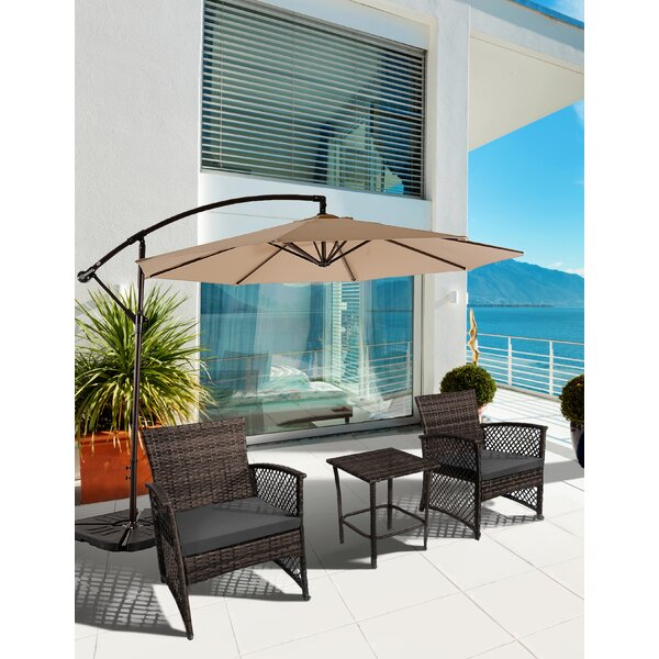 Brenton 3 Piece Rattan 2 Person Seating Group with Cushions by Highland Dunes