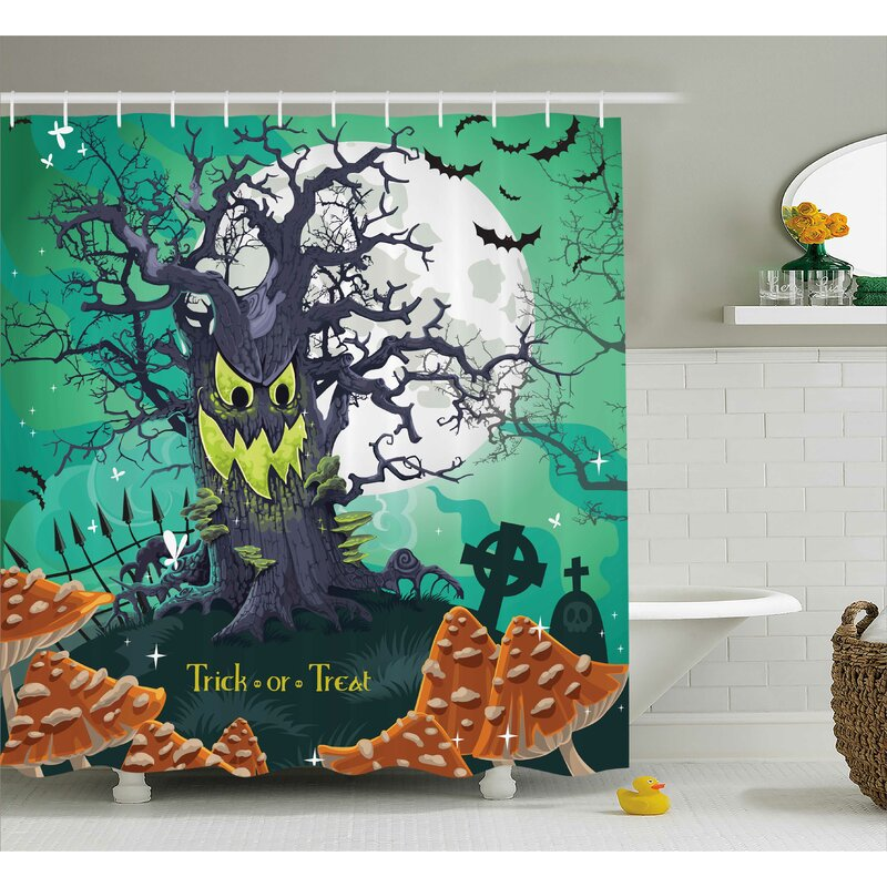 Gate of a Haunted House Halloween Scary Illustration Print Shower Curtain Set