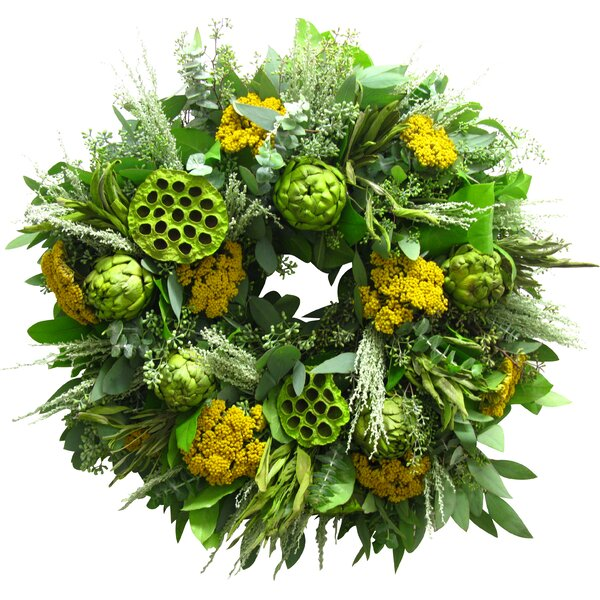 18 Artichoke and Yarrow Wreath by From the Garden