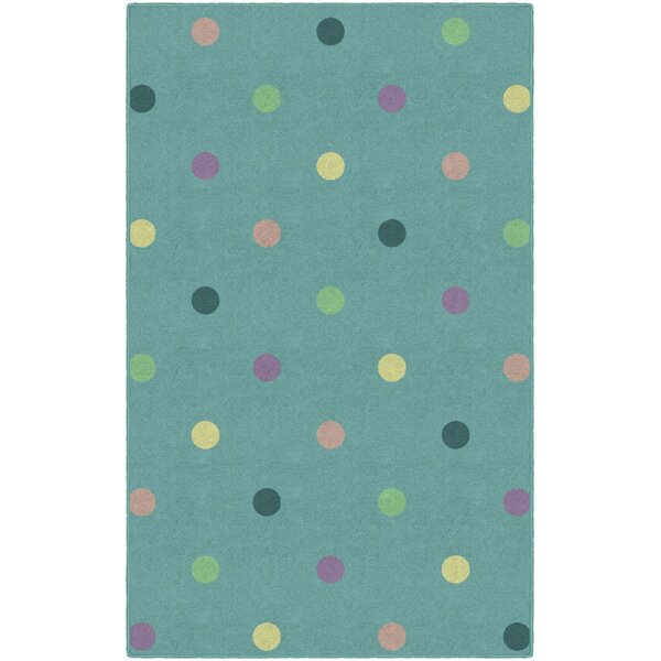 Benedick Polka Dots Green Area Rug by Ebern Designs