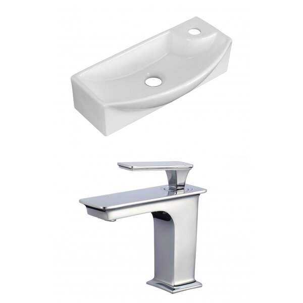 Ceramic 17.75 Bathroom Sink with Faucet