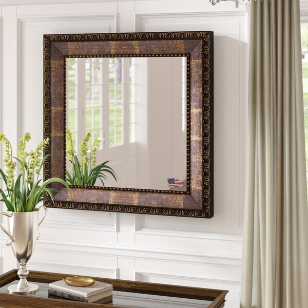 Bronze Wood Roman Bathroom / Vanity Mirror by Fleur De Lis Living